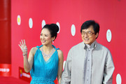 Zhang Ziyi and Jackie Chan arrive at the red carpet of the first Beijing International Film Festival at China's National Grand Theater on April 23, 2011 in Beijing, China.