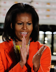 Michelle Obama attended the California FreshWorks Fund event wearing her hair in a chic shoulder-length 'do.