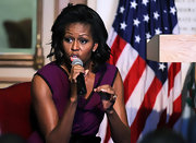 Michelle Obama looked very feminine with this wavy 'do during a visit to Georgetown University.