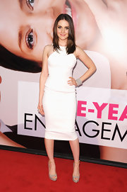 Alison Brie stepped out to the premiere of 'The Five Year Engagement' wearing a pair of pale snakeskin platforms with ankle straps.