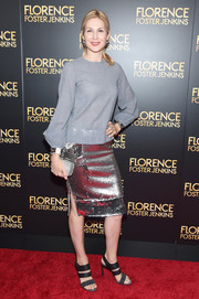 Kelly Rutherford jazzed up her simple top with a silver sequin skirt.