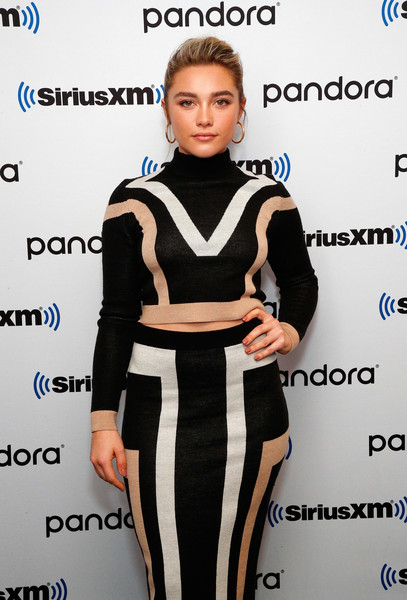 Florence Pugh Neutral Nail Polish [town hall with the cast of little women,little women,clothing,dress,cocktail dress,fashion,fashion model,shoulder,neck,black-and-white,fashion design,carpet,florence pugh,jess cagle,cast,town hall,new york city,siriusxm]
