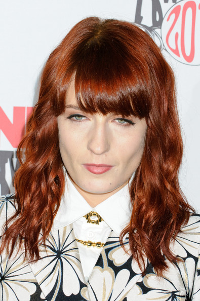 Florence Welch Long Wavy Cut with Bangs [hair,face,hairstyle,hair coloring,bangs,brown hair,chin,layered hair,red hair,eyebrow,brixton academy,london,england,nme awards,arrivals,florence welch]