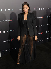 Tia Mowry wore almost nothing but this black Balmain blazer to the premiere of 'Focus.'