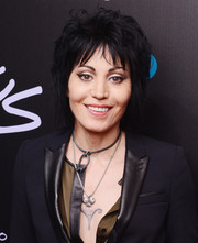 Joan Jett wore her signature razor cut at the premiere of 'Foo Fighters: Sonic Highways.'
