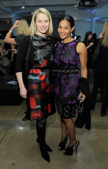 Marissa Mayer looked vibrantly elegant in a multicolored geometric-print dress at the Fortune 40 Under 40 event.