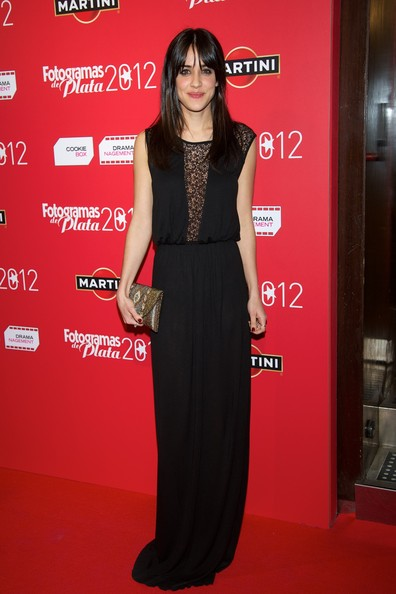 Marcarena Garcia looked sleek and sophisticated in an all-black gown with lace detailing at the sleeves and chest.