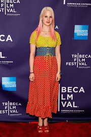Rachel Korine stepped into a pair of cherry red sandals for the 'Fourth Dimension' premiere.
