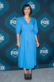 Something about Shannyn Sossamon's blue midi dress at the Fox All-Star party reminds us of Maria Von Trapp.