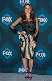 Chelsea Peretti attended the Fox All-Star party dressed to the nines in this lace-and-stripes number.