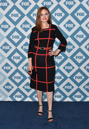 Emily Deschanel's black and red square-print dress at the Fox All-Star party had a stylish retro feel.