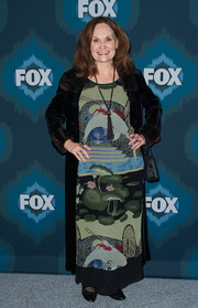 Beth Grant attended the Fox All-Star party wearing a printed maxi dress that look like a painting.
