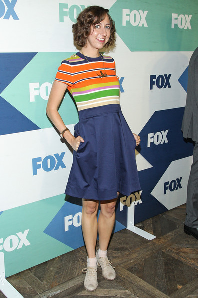 More Pics of Kristen Schaal Curled Out Bob (1 of 2) - Kristen Schaal Lookbook - StyleBistro [kristen schaal,fox all-star party - arrivals,clothing,dress,fashion,cocktail dress,electric blue,shoulder,footwear,fashion design,event,premiere,west hollywood,california,fox all-star party]
