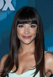 Hannah Simone stuck to her signature blunt bangs when she attended the Fox All-Star party.