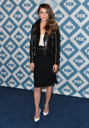 Keri Russell teamed a black leather moto jacket with a pencil skirt for a rocker-chic look during the Fox All-Star party.