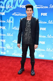 Adam Lambert was ever the glam rocker when he paired this blue blazer over an embellished shirt.