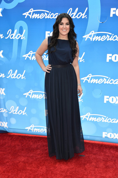 Kree Harrison chose this navy flowing column dress for her red carpet look.