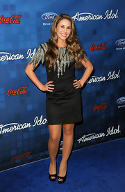 Haley jazzed up her LBD look with a silver embroidered neckline at the 'American Idol' finalist party.
