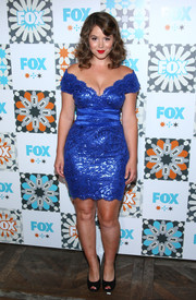 Camren Bicondova showed off some curves in a cobalt off-the-shoulder dress during the Fox Summer TCA All-Star Party.