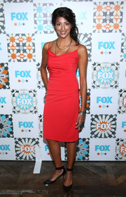 Meera Rohit Kumbhani slipped into a slinky red cocktail dress for the Fox Summer TCA All-Star Party.