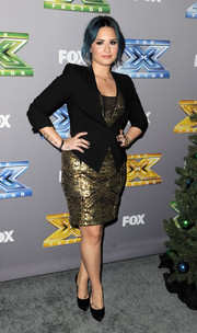 Demi Lovato layered a black blazer over a gold dress for the 'X Factor' season finale.