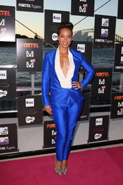 Alicia Keys was a shock of color in a cobalt Bianca Spender pantsuit at the Foxtel Music Channels summer launch.