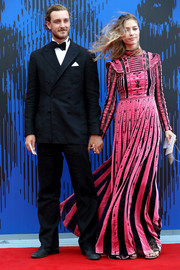 Beatrice Borromeo donned a beaded pink and black gown by Valentino for the Franca Sozzani Award.