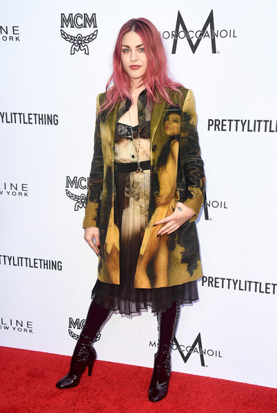 Frances Bean Cobain Printed Coat [clothing,fashion model,fashion,carpet,fur,outerwear,red carpet,footwear,fashion design,coat,arrivals,frances bean cobain,beverly hills hotel,california,daily front row,the daily front row,4th annual fashion los angeles awards]