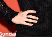 Imogen Poots' silver nail polish added a bright spot to her black outfit at the Sundance premiere of 'Frank & Lola.'