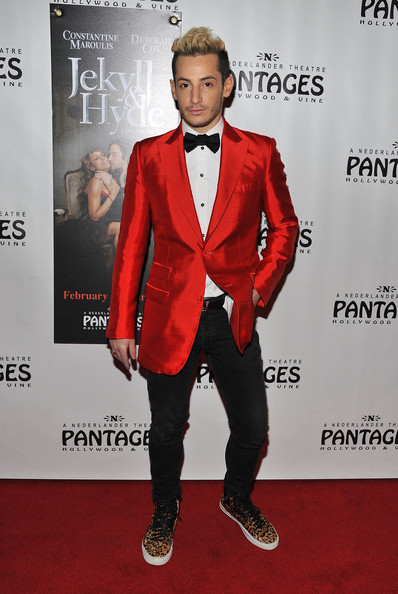 Frankie Grande Blazer [jekyll hyde,jekyll hyde,suit,red carpet,carpet,clothing,formal wear,red,tuxedo,fashion,premiere,bow tie,frankie grande,pre-broadway engagement at pantages,pantages theatre,california,hollywood,red carpet opening night and party]