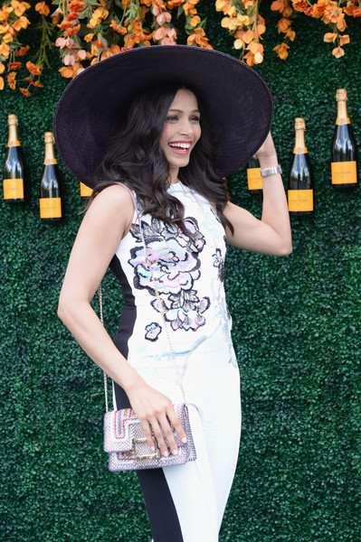 Freida Pinto Wide Brimmed Hat [clothing,dress,fashion,photo shoot,shoulder,hat,grass,headgear,long hair,fashion accessory,arrivals,freida pinto,jersey city,new jersey,liberty state park,veuve clicquot polo classic]