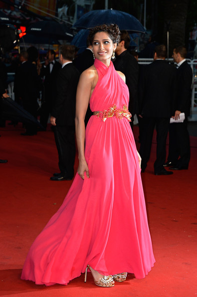 Freida Pinto Halter Dress