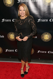 Katie Couric paired her dress with embellished black peep-toes.