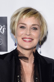 Sharon Stone attended the Friars Foundation Gala wearing her hair in a tousled bob.