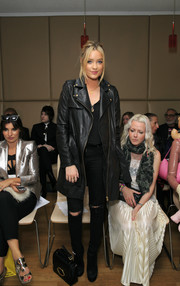 We're swooning over Laura Whitmore's leather longline coat in the front row for the Vin + Omi show at London Fashion Week.