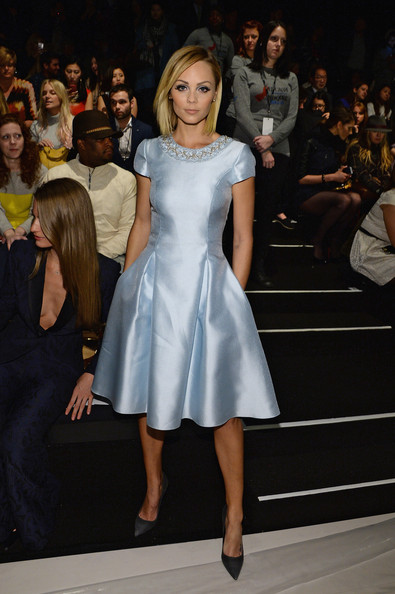 Laura Vandervoort was prom-chic in a baby-blue fit-and-flare cocktail dress during the Pamella Roland fashion show.