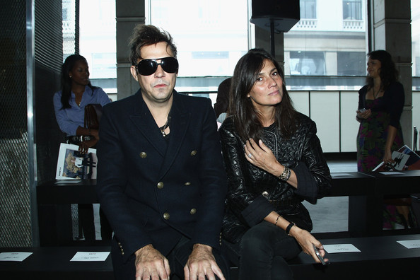Emmanuelle Alt looked fiercely stylish in a quilted black leather jacket during the IRFE fashion show.