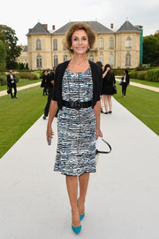 Nati Abascal was chic in a print dress paired with a black cardigan during the Dior Couture fashion show.