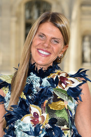 Anna dello Russo attended the Dior fashion show wearing a sleek straight 'do.
