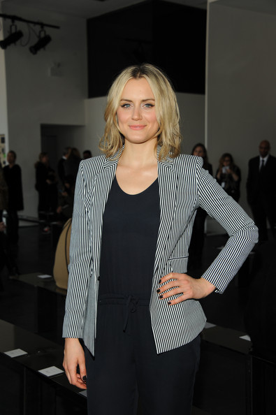 More Pics of Taylor Schilling Dark Nail Polish (1 of 14) - Nails Lookbook - StyleBistro [fashion,clothing,beauty,blond,hairstyle,outerwear,suit,blazer,event,street fashion,taylor schilling,theory show,front row,new york city,spring studios,fashion show,mercedes-benz fashion week]