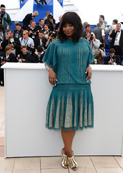 Octavia Spencer rocked a nude and teal drop-waist dress with a pleated skirt at the premiere of 'Fruitvale Station' at the Cannes Film Festival.
