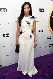 Padma Lakshmi kept it classy in a white Bibhu Mohapatra gown with a floral-embroidered bodice at the Not the White House Correspondents' Dinner.