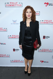 Bernadette Peters paired a black blazer with a lingerie-inspired LBD for the Broadway opening of 'Fully Committed.'