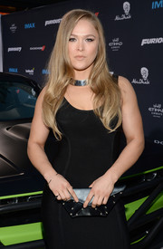 Ronda Rousey attended the 'Furious 7' LA premiere carrying a dangerous-looking spiked black clutch.