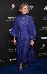 Naomi Watts looked boho-glam in an embroidered indigo dress with blouson sleeves at the 2020 G'Day USA Gala.