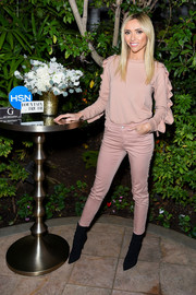 Giuliana Rancic showed off a blush ruffle-detail sweatshirt from G by Giuliana HSN during the collection's launch.