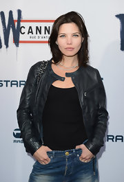 Delphine Chaneac rocked another leather jacket at the G Star Raw Cannes Store opening.