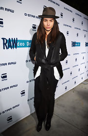 Tasya Van Ree struck a serious pose at the G-Star opening in a classic black leather jacket.