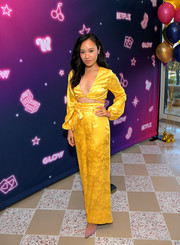 Ellen Wong matched her top with a pair of high-waisted silk pants.