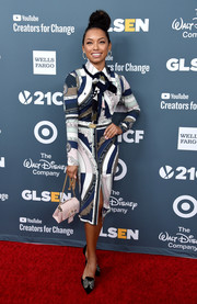 Logan Browning was business-chic in a printed shirtdress by Tory Burch at the GLSEN Respect Awards.